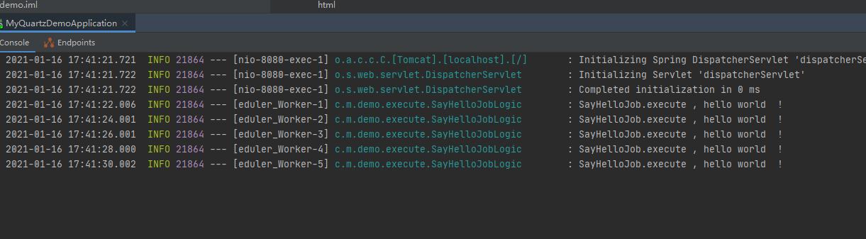 springboot 使用quartz 创建简单定时任务 入门篇